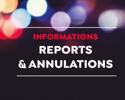 JANVIER : Annulations et reports